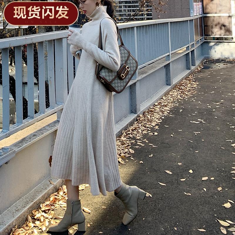 以纯牛仔连衣裙 【现货闪发】FFAN泛泛 针织连衣裙女2019新款秋冬气质修身内搭裙_推荐淘宝好看的以纯牛仔连衣裙