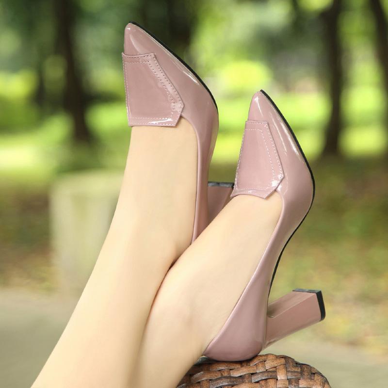 粗跟高跟鞋 春季新款粗跟单鞋高跟鞋真皮韩版女鞋小码尖头中跟职业上班工作鞋_推荐淘宝好看的女粗跟高跟鞋