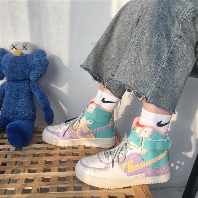 耐克女式运动鞋 轩尧耐克泰空军一号马卡龙彩色aj运动鞋女ins百搭潮板鞋女学生鞋_推荐淘宝好看的女耐克女运动鞋