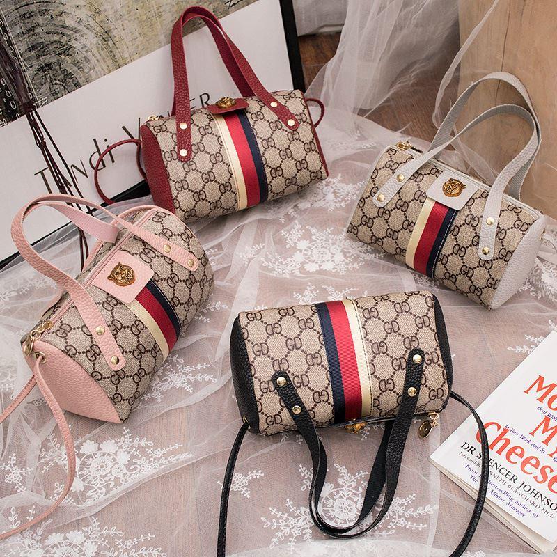 粉红色手提包 女字母灰色粉红色黑色红色包包时尚韩版老花手提新款单肩斜挎小包_推荐淘宝好看的粉红色手提包