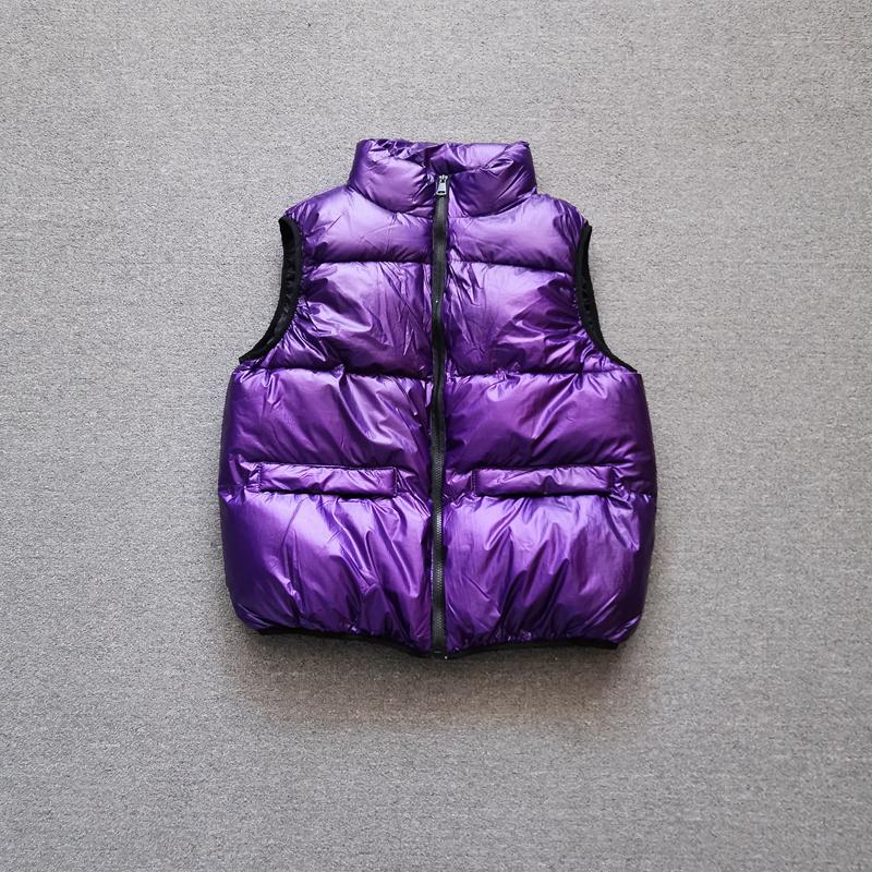 紫色马甲 紫色亮面马甲女欧货220秋冬新款羽绒背心宽松加厚无袖面包服潮_推荐淘宝好看的紫色马甲