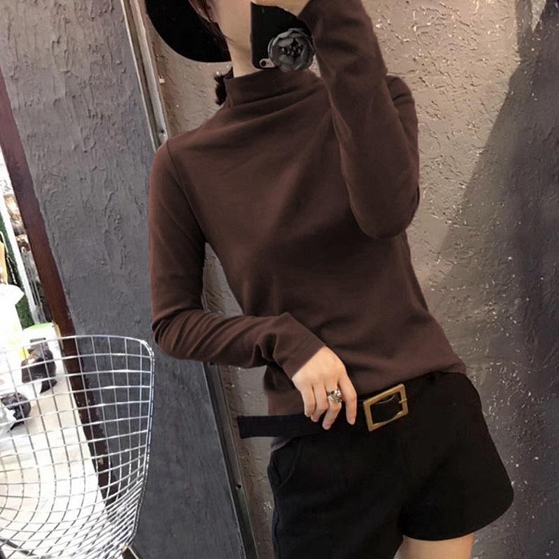 纯色长袖t恤 秋季新款半高领打底衫长袖流行女装t恤纯色韩版百搭修身显瘦上衣_推荐淘宝好看的女纯色长袖t恤