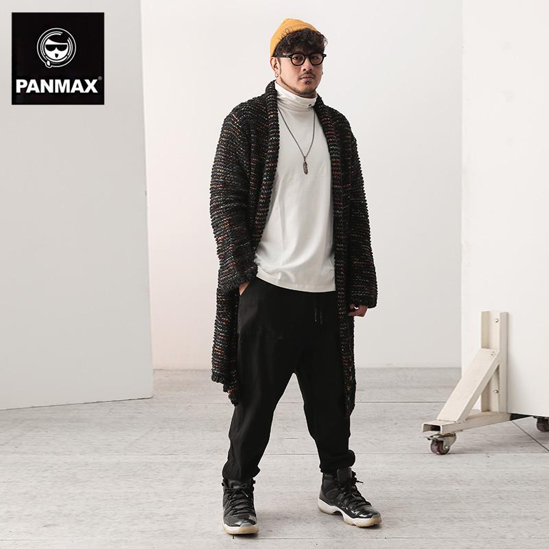 男士长款毛衣 PANMAX针织衫 冬季加厚长款开衫毛衣潮流个性胖子大码线衣外套男_推荐淘宝好看的男长款毛衣
