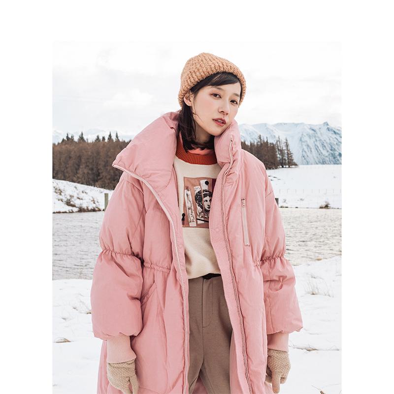 茵曼服装 茵曼2020冬装新款纯色拉链灯笼袖大口袋长款保暖羽绒服外套女_推荐淘宝好看的茵曼