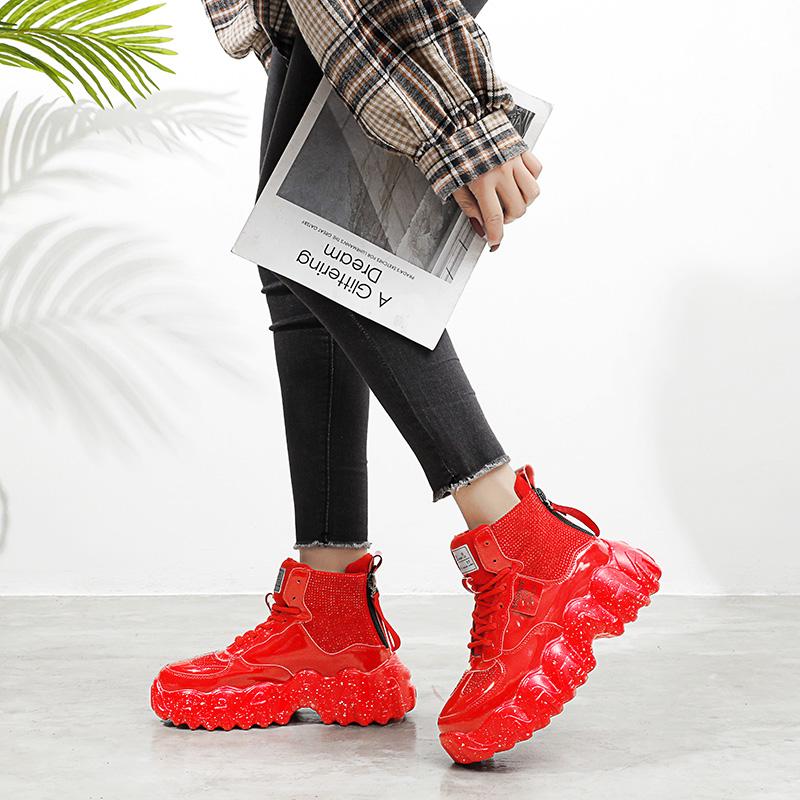 坡跟鱼嘴鞋 厚底松糕坡跟老爹鞋ins超火运动鞋网红女鞋潮_推荐淘宝好看的女坡跟