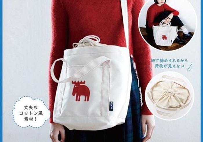 红色帆布包 日杂附录帆布挎包 红色麋鹿 二用购物包 束口 斜背包单肩手提布包_推荐淘宝好看的红色帆布包