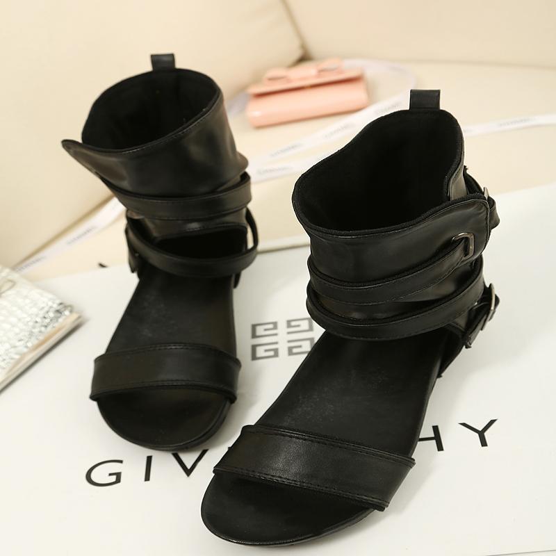 黑色罗马鞋 夏季黑色鞋子 欧美罗马平跟高帮百搭休闲舒适防滑平底鱼嘴女凉鞋_推荐淘宝好看的黑色罗马鞋