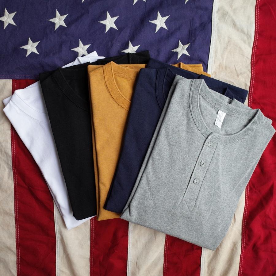 黄色T恤 250克长袖粗纱美国棉重磅纯棉亨利领男士T恤厚实纯色打底衫鹅黄色_推荐淘宝好看的黄色T恤