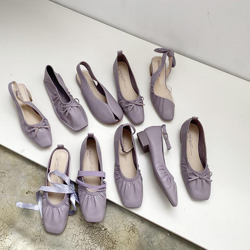 紫色凉鞋 2020年新款仙女风凉鞋紫色系温柔一字带后空单鞋平底奶奶鞋中跟鞋_推荐淘宝好看的紫色凉鞋