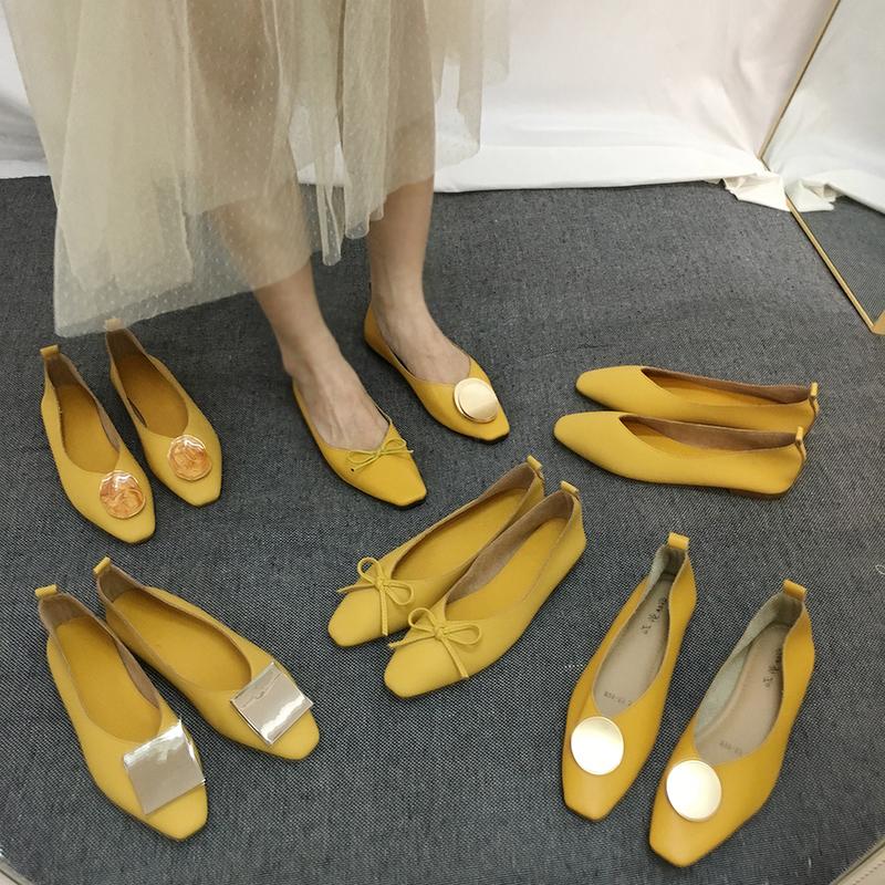 黄色平底鞋 软哭 好穿舒适温柔黄色小皮鞋方头浅口软底孕妇平底奶奶单鞋开车_推荐淘宝好看的黄色平底鞋