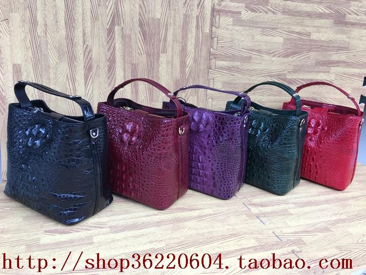 紫色手提包 泰国紫色新款鳄鱼皮女包单肩包真皮手提包欧美斜挎包特价女士背包_推荐淘宝好看的紫色手提包