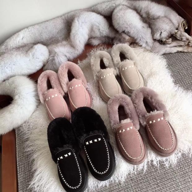 粉红色豆豆鞋 2019新款粉红色鞋雪地靴豆豆鞋女加绒皮毛一体包子鞋真皮懒人鞋_推荐淘宝好看的粉红色豆豆鞋