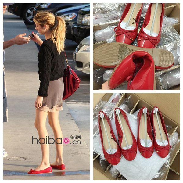 红色平底鞋 2020新款红色圆头浅口蝴蝶结漆皮芭蕾平底单鞋女休闲鞋大码女鞋_推荐淘宝好看的红色平底鞋