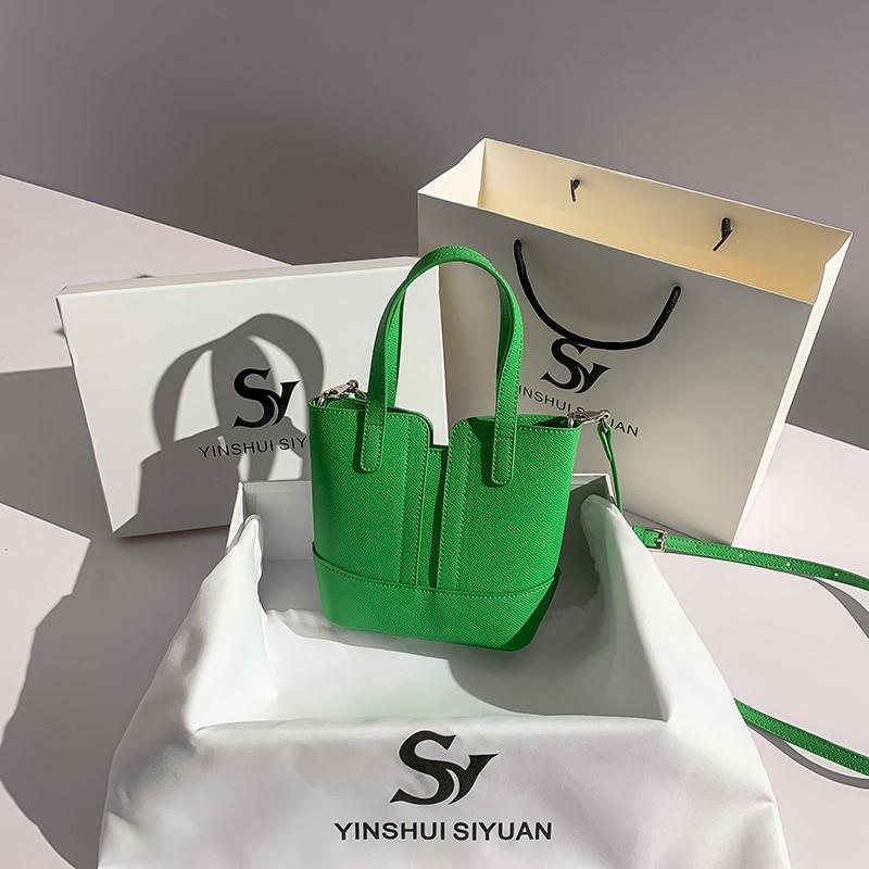 绿色水桶包 大思哥迷你托特水桶包包女2021新款潮夏绿色斜挎小众设计菜篮子包_推荐淘宝好看的绿色水桶包