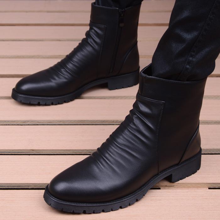 尖头短靴 英伦时尚高帮拉链尖头马丁靴子潮流男鞋增高短靴休闲皮鞋男士皮靴_推荐淘宝好看的尖头短靴