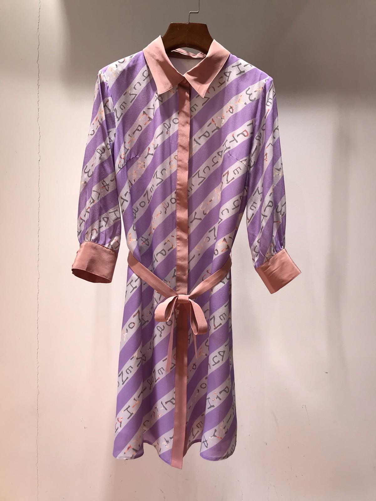 女士真丝连衣裙 新款2019年夏季拼粉色领口边印字母紫色条纹7分袖真丝连衣裙_推荐淘宝好看的真丝连衣裙
