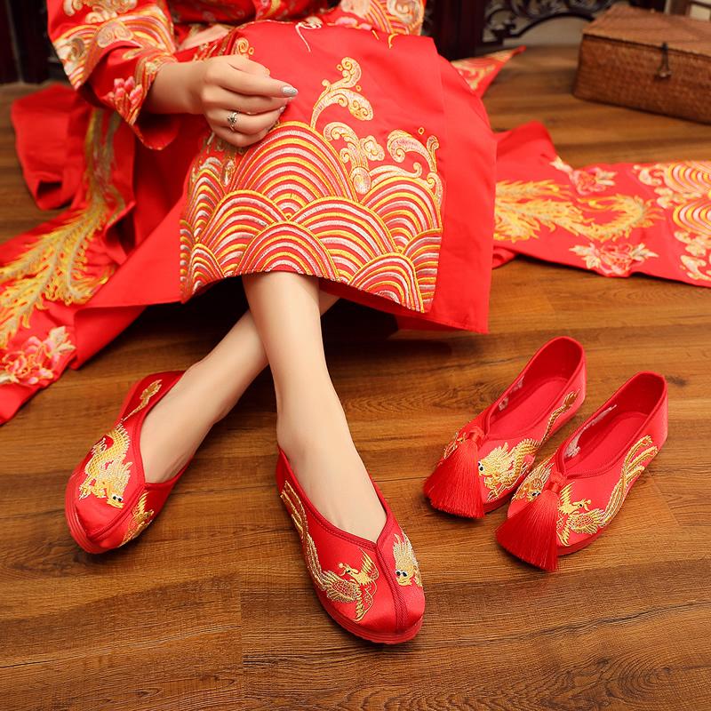 红色平底鞋 秀禾鞋婚鞋老北京新娘鞋手工绣花婚鞋红色上轿千层底中式平底布鞋_推荐淘宝好看的红色平底鞋