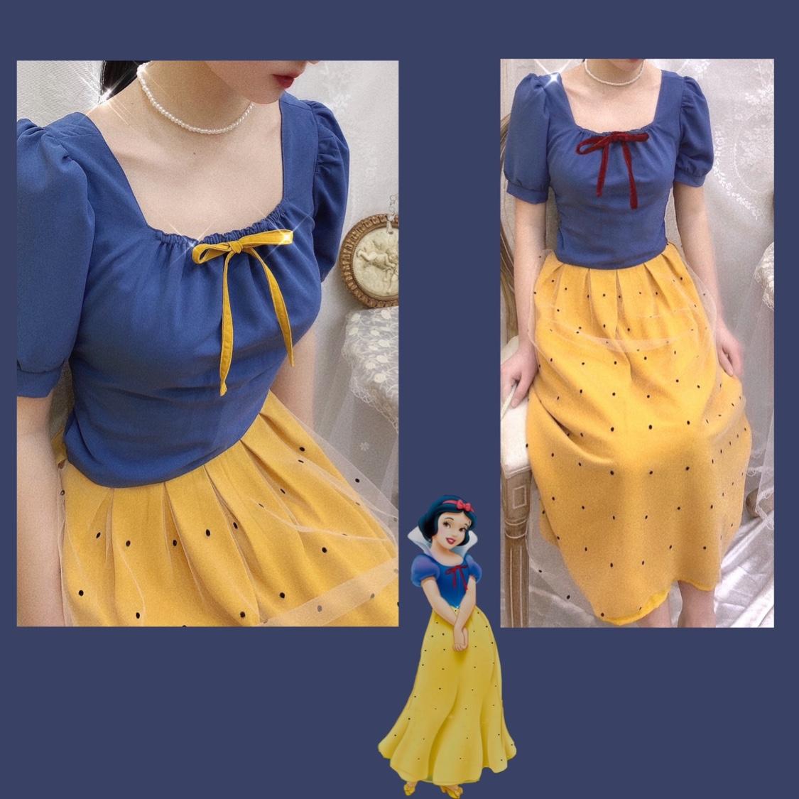 黄色半身裙 晚时光 白雪公主风蓝色方领蝴蝶短袖上衣 高腰黄色网纱波点半身裙_推荐淘宝好看的黄色半身裙