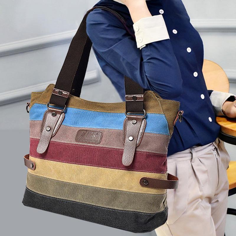 女士复古手提包 2021新款春款潮流日韩版女包单肩包手提斜挎包包帆布休闲复古大包_推荐淘宝好看的女复古手提包