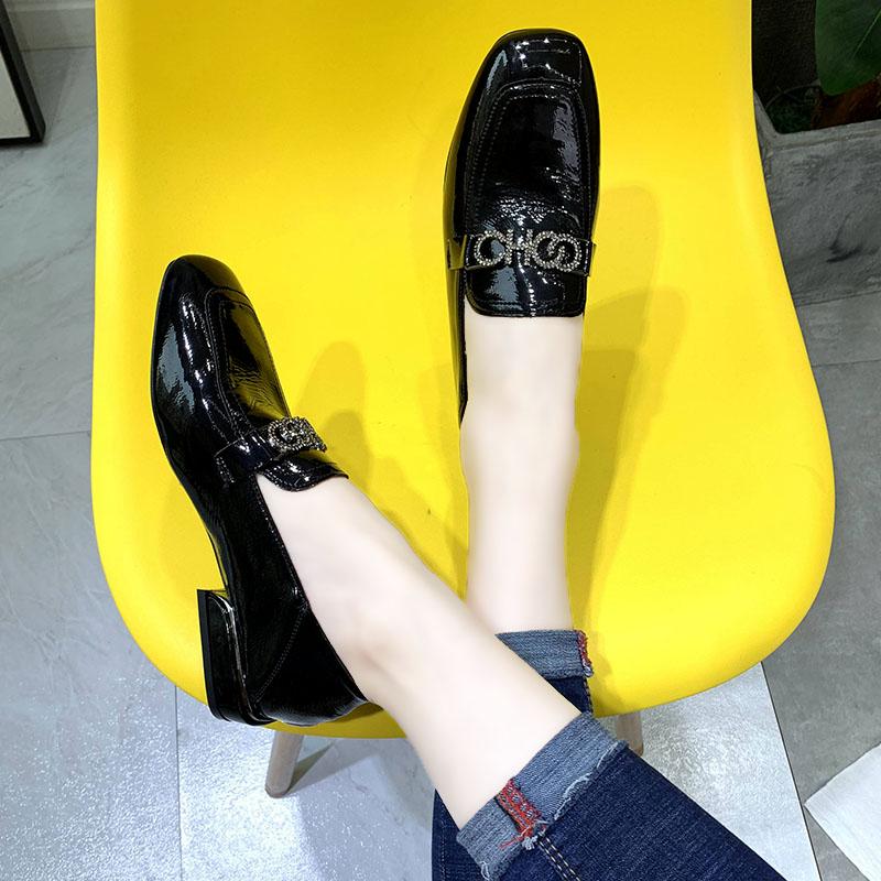平底鞋 低跟方头单鞋女2019秋季新款英伦水钻豆豆鞋平底网红小皮鞋乐福鞋_推荐淘宝好看的女平底鞋