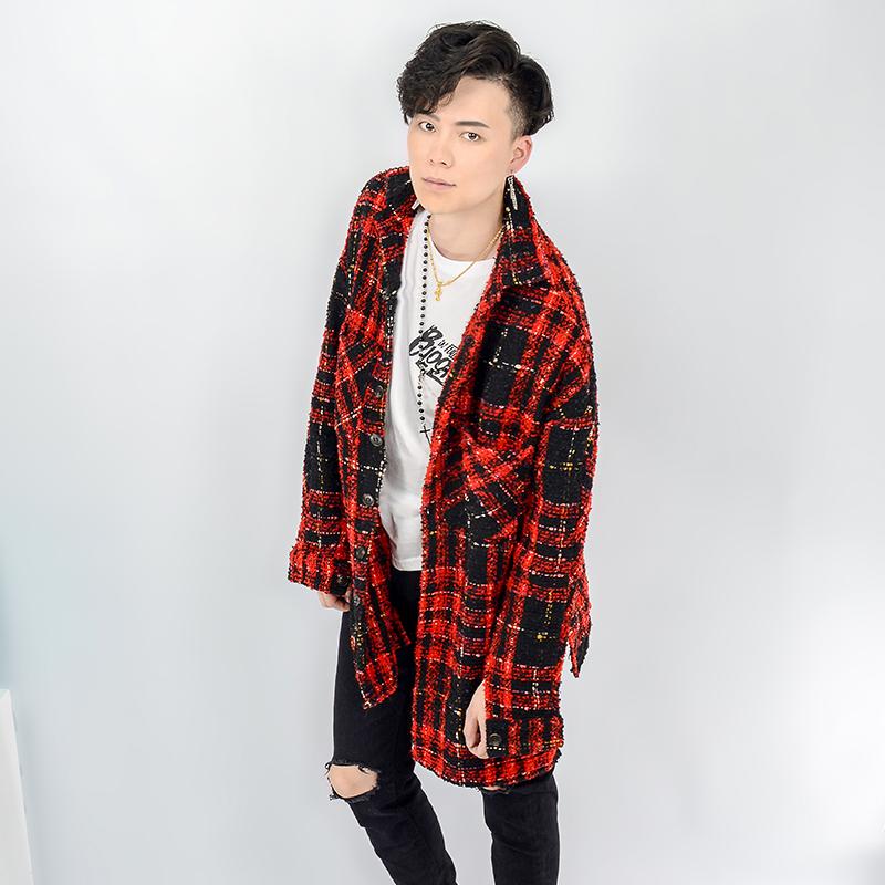红格子衬衫 毛呢衬衫男女秋冬季长袖红格子羊绒金线情侣加厚保暖外套休闲衬衣_推荐淘宝好看的女红格子衬衫