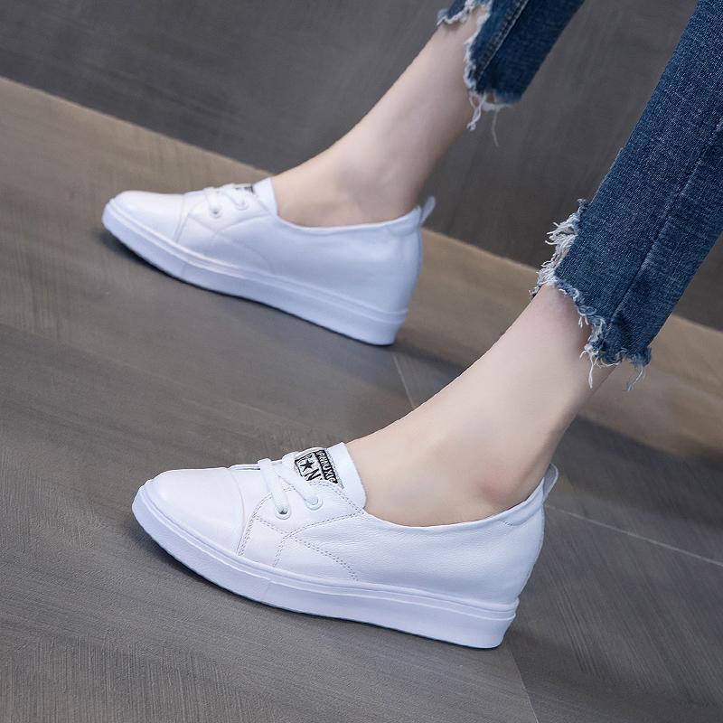 白色松糕鞋 真皮小白鞋女浅口内增高2020春季纯皮百搭厚底松糕白色板鞋夏季_推荐淘宝好看的白色松糕鞋