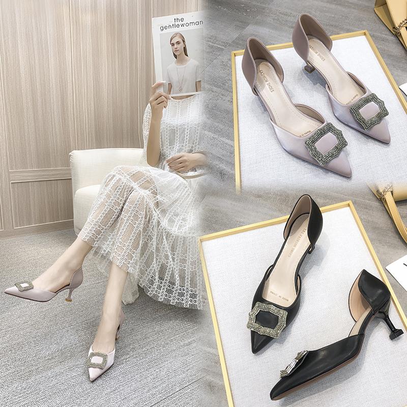 高跟单鞋 不规则方扣水钻中空酒杯跟尖头女单鞋简约优雅纯色高跟鞋2020年潮_推荐淘宝好看的女高跟单鞋
