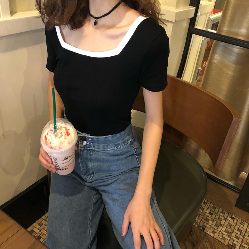 黑色T恤 夏季韩版新款女装大方领修身显瘦撞色简约百搭短袖t恤上衣打底衫_推荐淘宝好看的黑色T恤