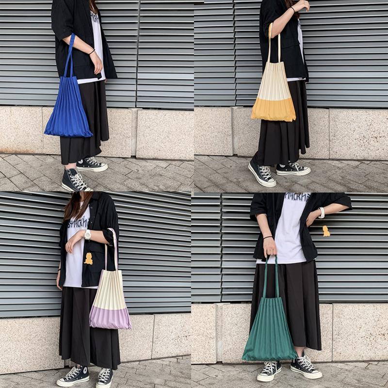 紫色手提包 日本设计师褶皱包纯色拼色两款帆布包环保购物袋百搭手提单肩包_推荐淘宝好看的紫色手提包