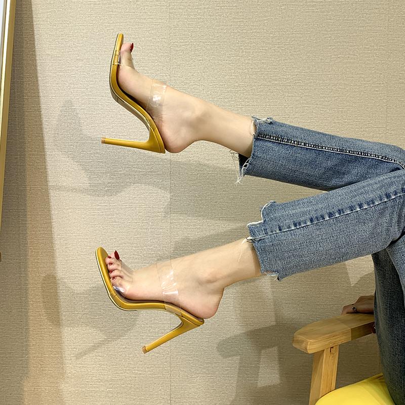 黄色凉鞋 2021夏季新款网红一字带透明高跟凉鞋女细跟气质黄色凉拖鞋外穿潮_推荐淘宝好看的黄色凉鞋