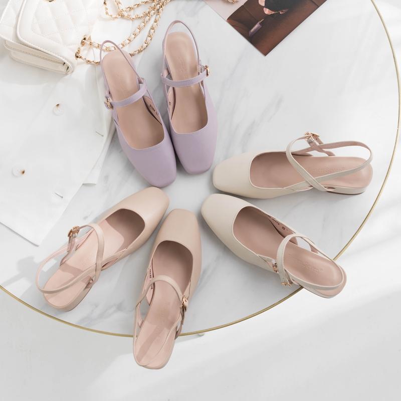 紫色凉鞋 柒步森林真皮包头紫色低粗跟一字带凉鞋淑女百搭夏季新款2020单鞋_推荐淘宝好看的紫色凉鞋