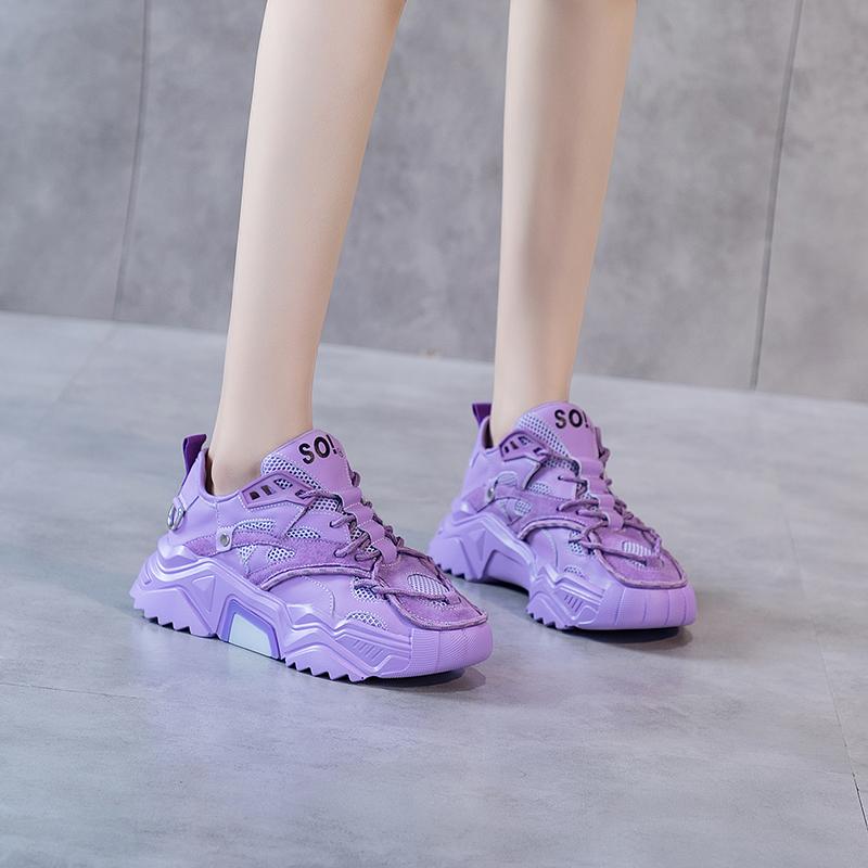 紫色厚底鞋 2021春夏新款真皮老爹鞋女紫色厚底透气运动休闲鞋韩版发光跑步鞋_推荐淘宝好看的紫色厚底鞋