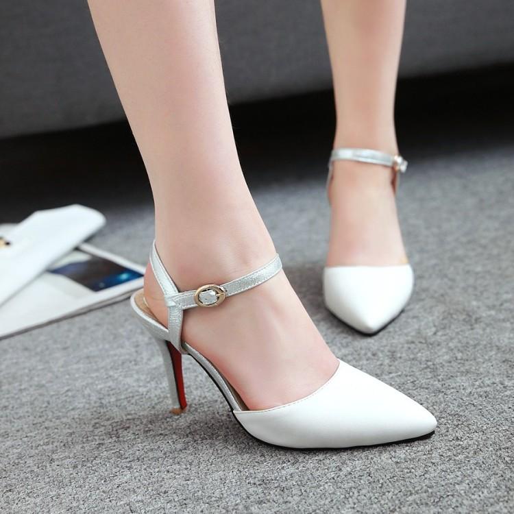 粉红色尖头鞋 夏季凉鞋女白色粉红色黄色女鞋包头尖头细跟高跟小码大码凉鞋 HXY_推荐淘宝好看的粉红色尖头鞋
