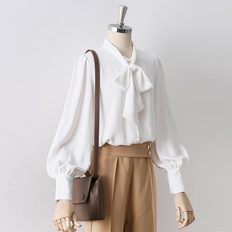 白色雪纺衫 2021春秋款蝴蝶结系带白色雪纺衫女灯笼袖上衣职业OL气质长袖衬衣_推荐淘宝好看的白色雪纺衫