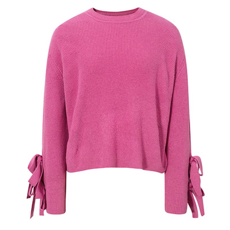 伊芙丽针织衫 【可可魔法屋】伊芙丽YFL 2021春季新款玫红色套头针织衫上衣女_推荐淘宝好看的伊芙丽针织衫