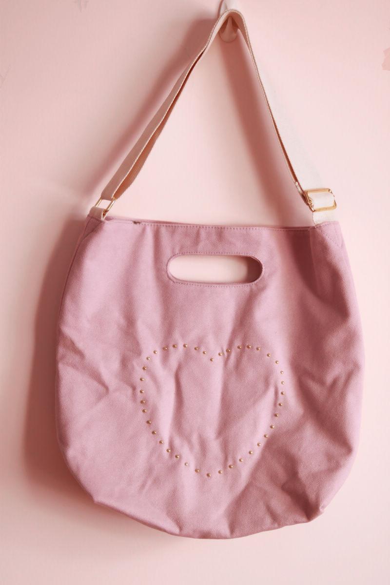 紫色帆布包 Kumiko新款全新★日单裸紫色撞色蘑菇铆钉帆布斜挎包单肩包手提包_推荐淘宝好看的紫色帆布包