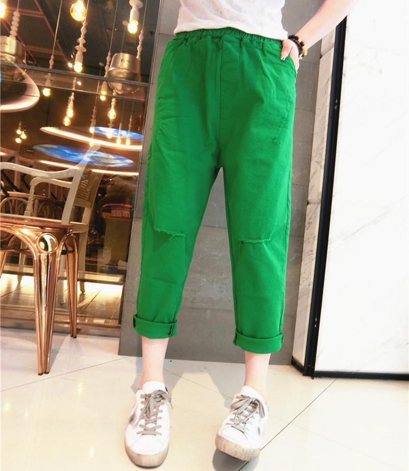 绿色牛仔裤 糖果撞色哈伦牛仔裤九分2021春夏女装新款宽松破洞浅绿色阔腿裤_推荐淘宝好看的绿色牛仔裤