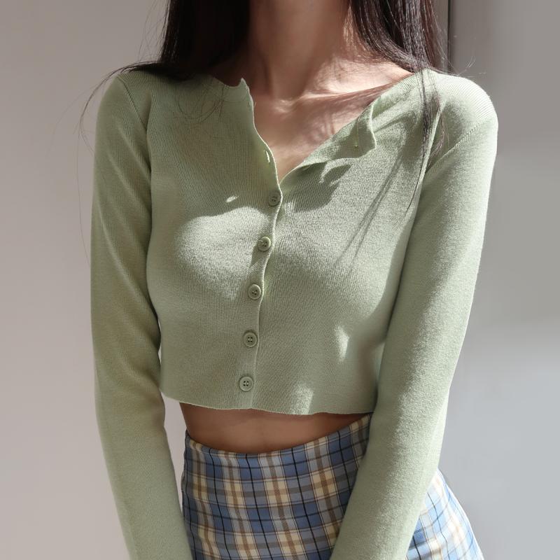 绿色针织衫 春新款绿色外搭小开衫美式高腰单排扣露脐长袖针织开衫女短款上衣_推荐淘宝好看的绿色针织衫