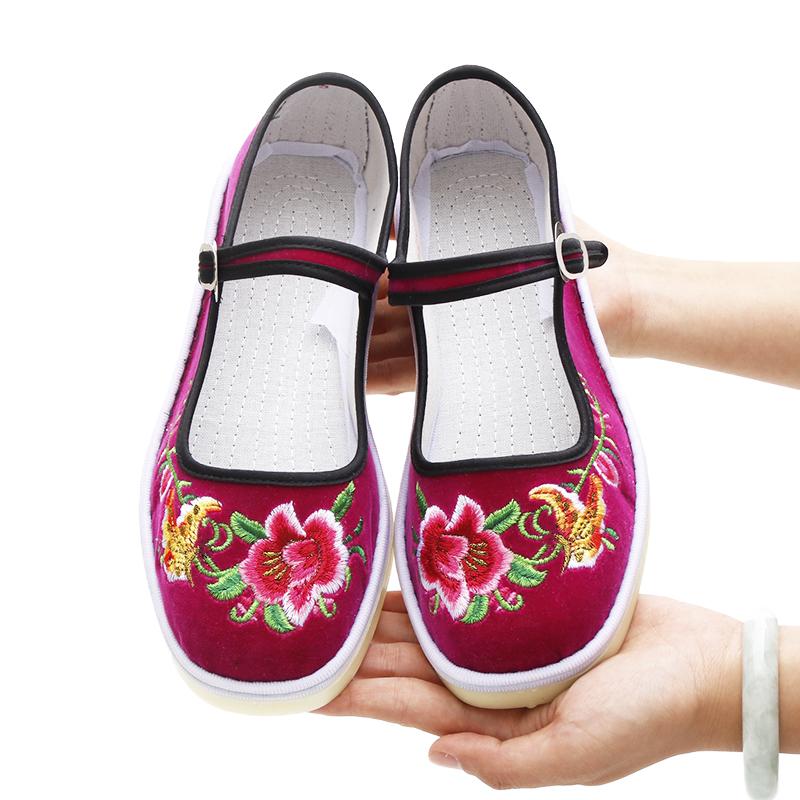 绿色平底鞋 民族风老北京绣花鞋女布鞋绿色花布鞋结婚舞蹈演出用平底棉布鞋子_推荐淘宝好看的绿色平底鞋