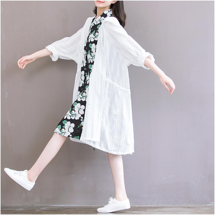白色风衣 森女风薄款风衣外套女春夏中长款棉麻上衣开衫宽松文艺白色防晒衣_推荐淘宝好看的白色风衣