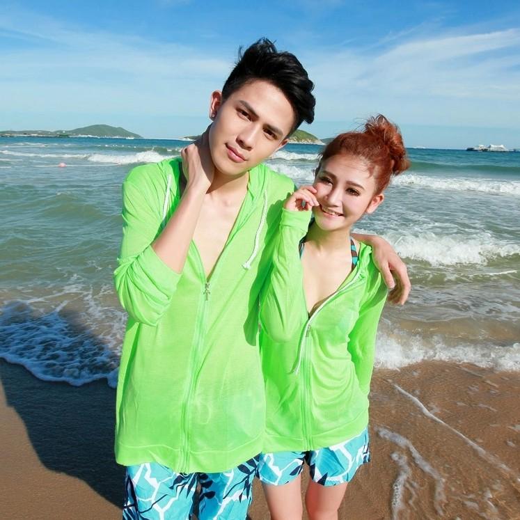 男士针织衫外套 情侣防晒衣男女开衫透明套泳衣亲子沙滩装针织薄中长款短外套新品_推荐淘宝好看的男针织衫外套