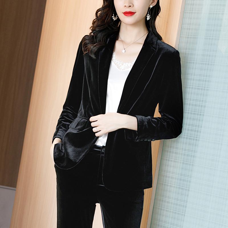 黑色小西装 黑色丝绒小西装外套女春秋上衣高端时尚气质职业装金丝绒西服套装_推荐淘宝好看的黑色小西装