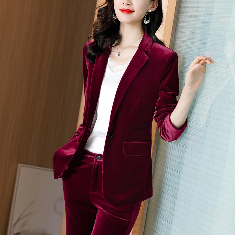 红色小西装 红色丝绒西装外套女春秋高端职业装2021上衣气质金丝绒小西服套装_推荐淘宝好看的红色小西装
