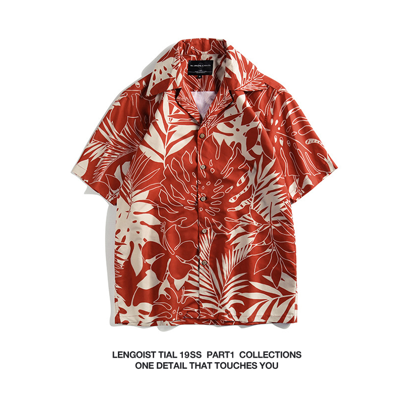 红色衬衫 日系风格男女宽松夏威夷红色大花休闲复古70s海岸透气短袖衬衫_推荐淘宝好看的红色衬衫
