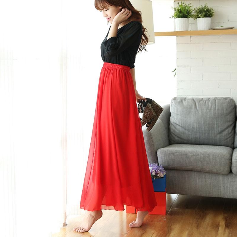 红色半身裙 大红色雪纺半身长裙女夏高腰沙滩裙子跳舞纱裙a字仙女半身裙大码_推荐淘宝好看的红色半身裙