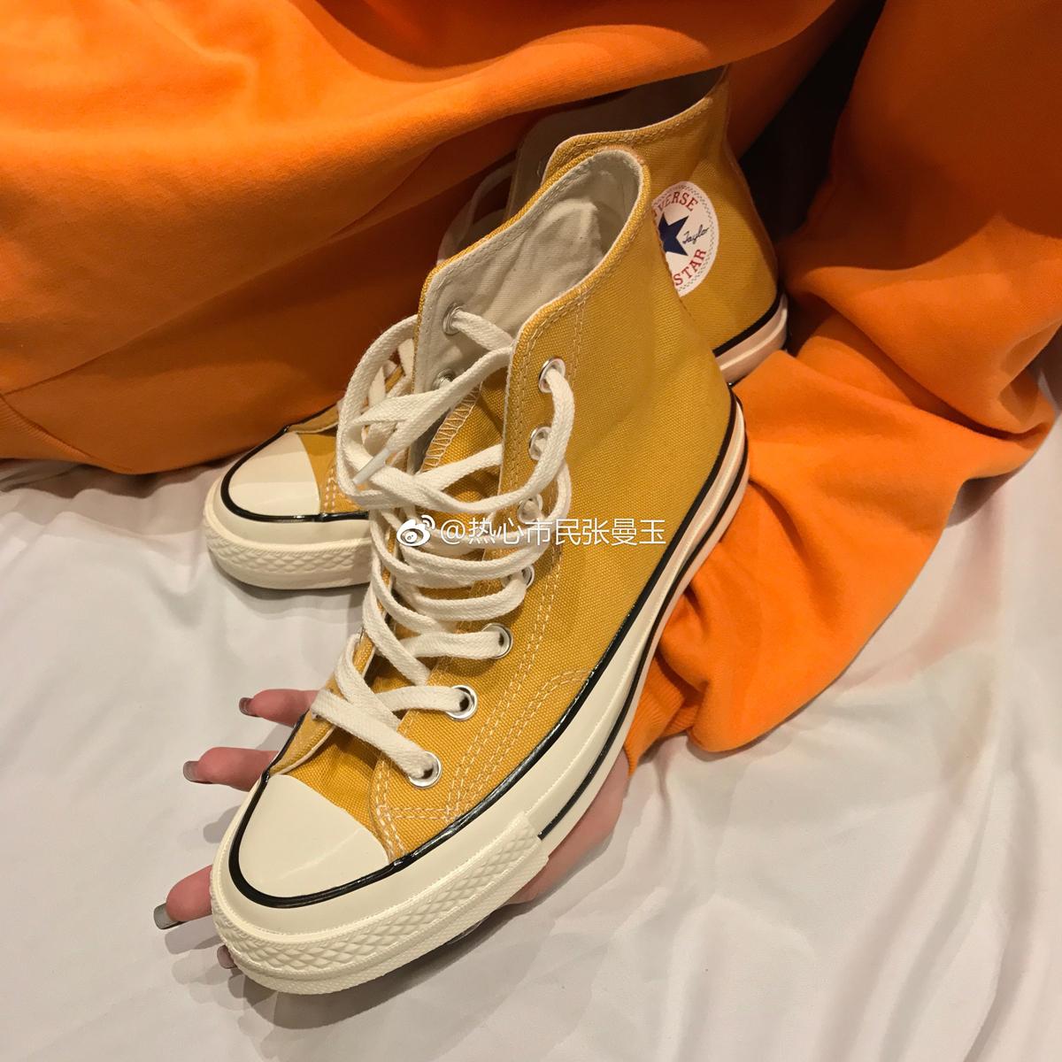 黄色帆布鞋 converse匡威1970S三星标 黄色低帮 黄色高帮 帆布鞋女男162054C_推荐淘宝好看的黄色帆布鞋