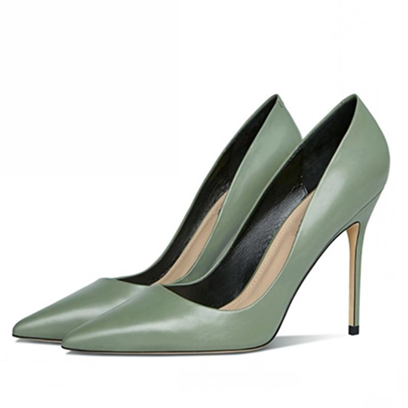 绿色高跟鞋 2021新款女鞋抹绿色真皮小码31 32 33细跟尖头浅口超高跟网红鞋_推荐淘宝好看的绿色高跟鞋