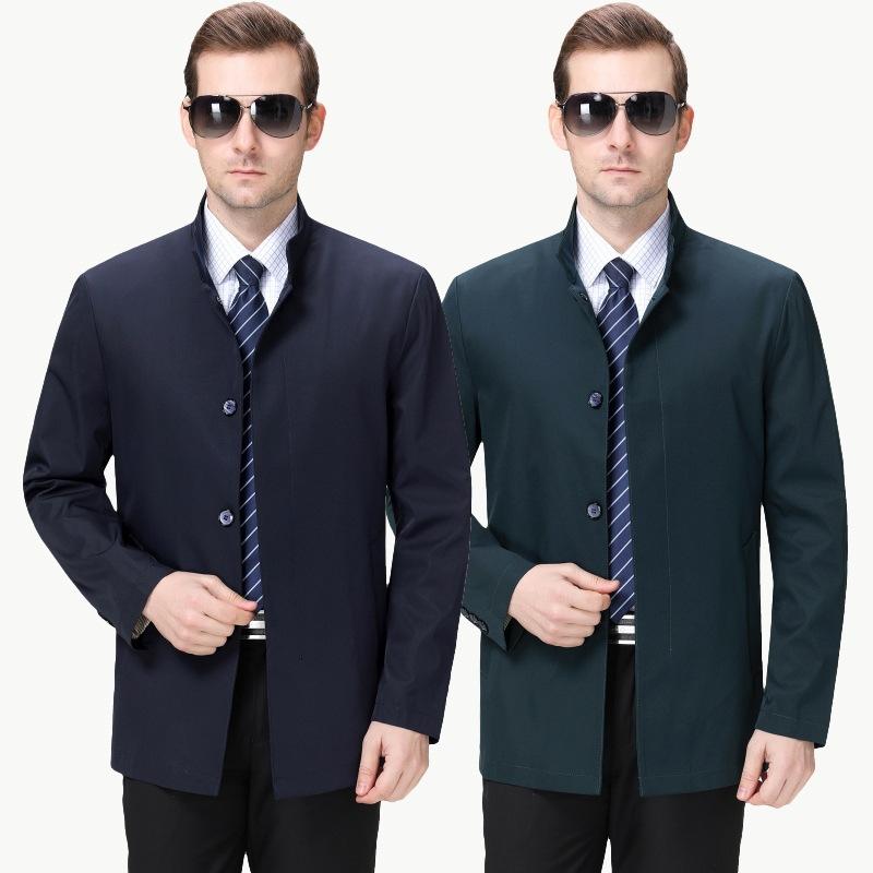 男士立领风衣 正品牌时尚中年男风衣休闲外套中长款春装立领薄款男装夹克衫_推荐淘宝好看的男立领风衣