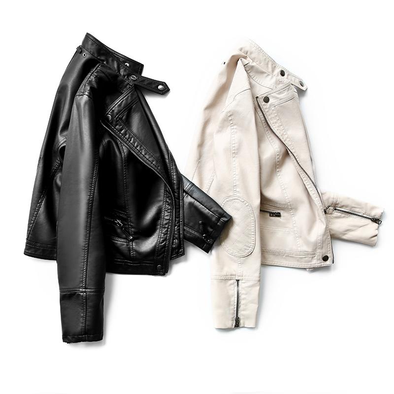 黑色皮衣 2020春秋新款pu皮衣女小外套短款机车黑色休闲女士修身高腰皮夹克_推荐淘宝好看的黑色皮衣