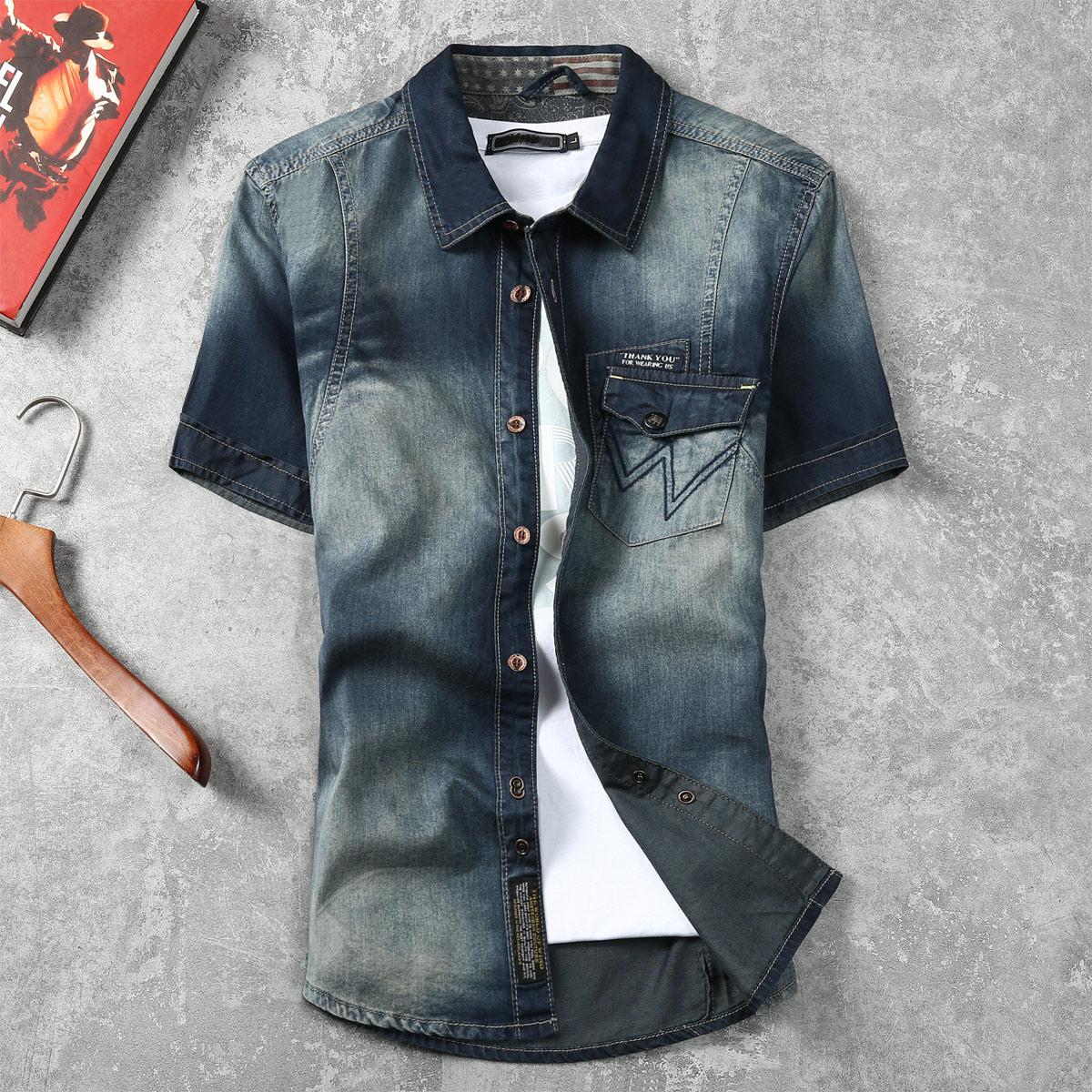 男士牛仔衬衫 卡威酷潮男夏季新品修身牛仔短袖衬衫男士水洗个性口袋休闲衬衣_推荐淘宝好看的男牛仔衬衫